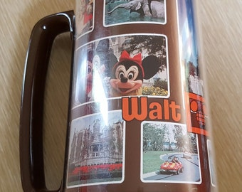 Vintage 1970s Walt Disney World Souvenir Photo Thermo-Serv Tumbler Mug
