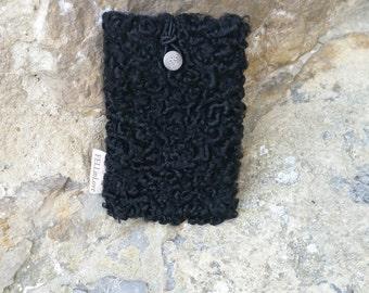 Mobile phone bag black Persian lamb fur coat with black and White Pearl