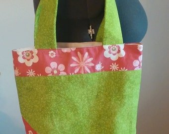Tote Bag // Carry All - Pink & Green