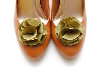 Lorraine  - Olive Green Silk Shoe Clips