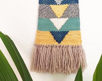 Woven Wall Hanging | yellow, blue, grey, aqua, geometric weaving, fiber art, tissage mural