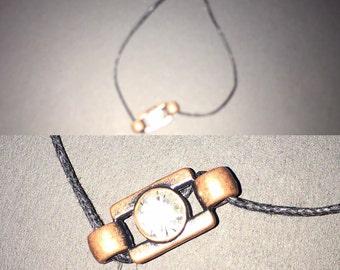Bronze stone charm bracelet