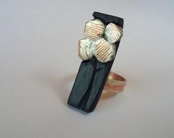 Ebony and mokume ring