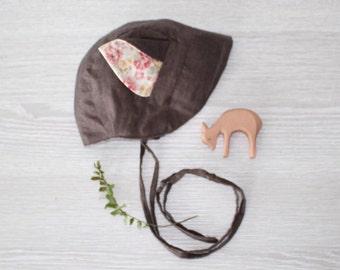 Floral Fox ear Bonnet