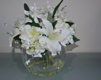 White Hydrangea & Lilly Floral arrangement