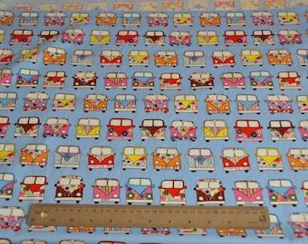 Campervan print cotton, cotton poplin, children's design, kid's design, 100% cotton, camper van