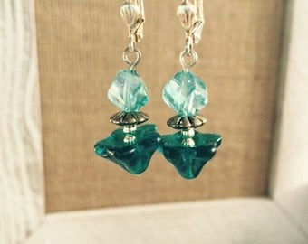 Blue crystal and glass flower earrings