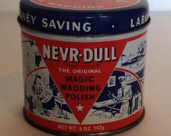 Vintage Tin 1941 NEVR Dull The Original Magic Wadding Polish