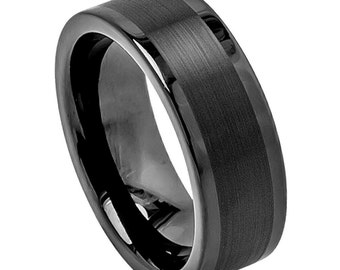 mens tungsten carbide pipe cut brushed center high polish flat edge 8mm wedding band promise - Tungsten Carbide Wedding Rings
