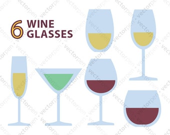 6 Pack of Wine Glass SVG files. Scrapbooking and Cricut Clip Art. Digital Download