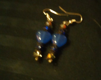 Elegant Blue Hearts Drop Earrings