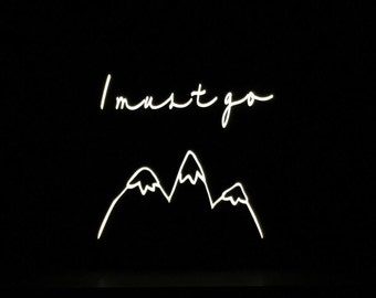 neon light sign, neon sign, mountains are calling, night light, light up sign, hippy decor, light up letters, welcome sign, wall decor