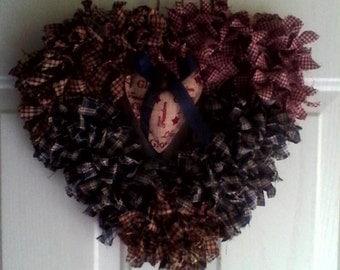 "Primitive Look ""Rag Wreath"""