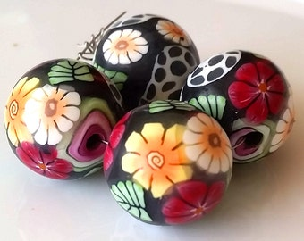 4 polymer clay beads Fimoperlen mix black colorful Millefiori Millefleurs