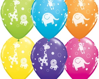 "6 x 11"" Cute & Cuddly Jungle Animal Balloons in Pastel Colours by Qualatex Children's Birthday Party"