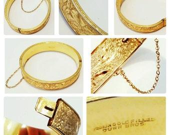 DUNN BROS. Hinged Bangle Bracelet - Etched Floral Design,10k Gold Filled, Vintage 1930s, MINT Condition!