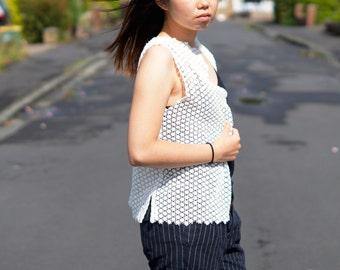 Sleeveless Cardigan in Lace