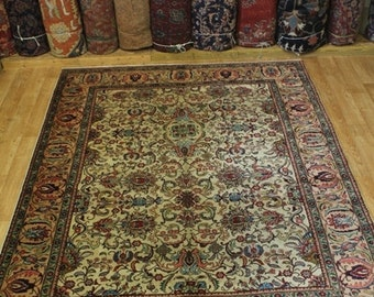 Allover Floral Handmade Ivory Tabriz Persian Wool Oriental Area Rug Carpet 8X11