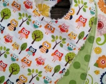 Baby Bibs - Baby Bibs Handmade - Baby Girl Bibs - Owl Baby Bibs - Chenille Baby Bibs - Woodland Baby Bibs - Riley Blake - Baby Shower Gift