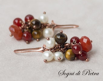 Rich cluster Carnelian Earrings, Tiger's eye, perfect freshwater pearls, stones pearls cluster, Autumn colors, Virgo, brown, gift for Her