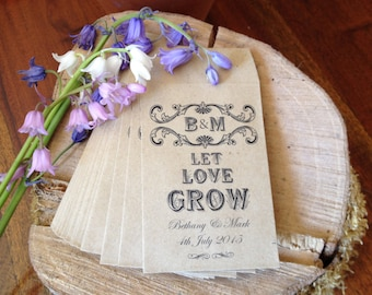 "Personalised Wedding Favour Empty Seed Packets x 20 - ""Let Love Grow"" or ""Grow Some Love"""