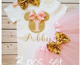 Minnie Mouse pink and gold tutu outfit,Tutu birthday outfit,Minnie Mouse birthday outfit,pink birthday tutu,pink tutu,girl birthday outfit
