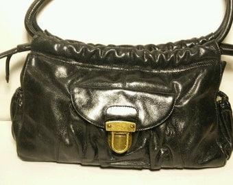 Hobo International Black Distressed Leather Handbag ShoulderBag Purse Drawstring