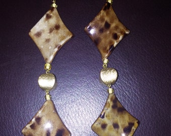 Brown, Black and Gold Diamond shape Earrings