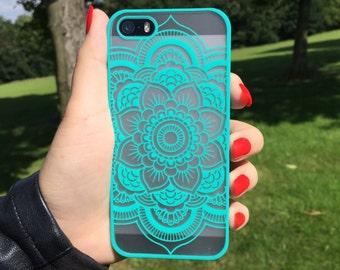 Mint Mandalas Iphone Case, Iphone 6 Case, Iphone 6 Plus case, 5 Mandalas Pattern, Henna Pattern Iphone Case