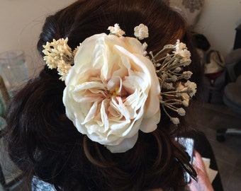 Ivory and cream flower hair comb