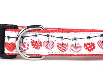 Valentine Hanging Hearts Nylon Dog Collar