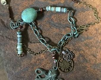 Boho Beachy Octopus Sea Monster Copper Necklace