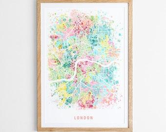 London Map Print - Abstract Map / England / UK / City Print / Giclee Print / Poster