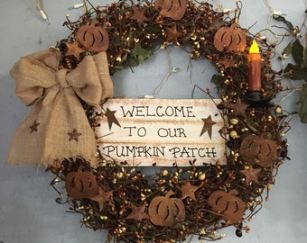 """18"""" Primitive Country Fall Wreath"""