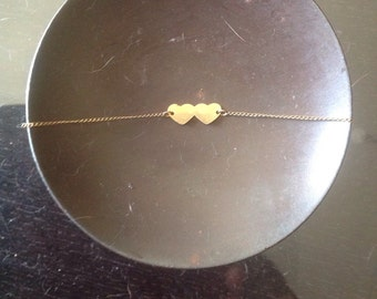Golden Double Heart Anklet
