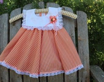 Orange Gingham Party Dress