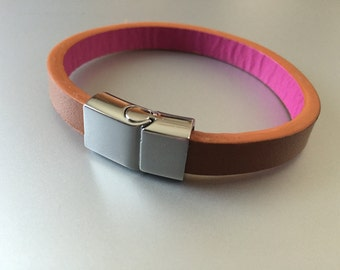 Leather Bracelet in Tan and Magenta with Silver Clasp
