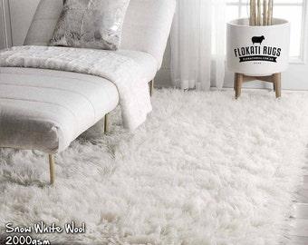 Flokati Wool Rugs - Handmade in Greece - 100% New Zealand Wool - Ultra Plush Rugs - SNOW WHITE - 2000gsm