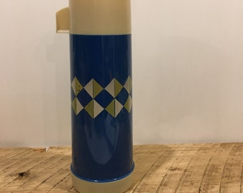 Vintage Blue Thermos, Mid Century Design, Diamond Pattern, Plastic Blue Thermos, One Pint, Belknaps, Aladdin