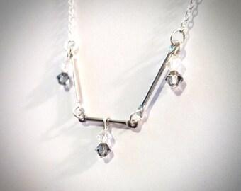 Silver Bar Necklace / Link Necklace / Boho Necklace / Vintage Necklace / Bead Necklace / Silver Necklace