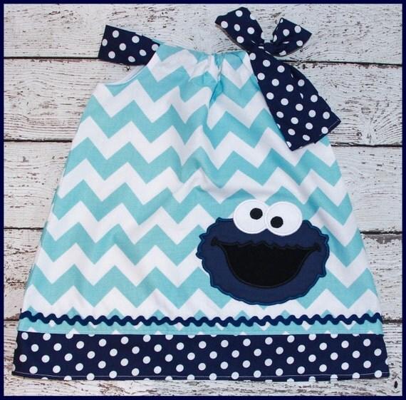 Aqua Chevron and Navy Blue Cookie Monster Sesame Street Pillowcase style dress