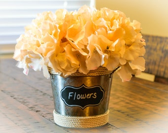 Galvanized Metal Bucket with Silk Hydrangeas - Champagne