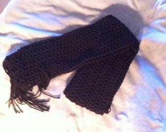 Crocheted Black Scarf