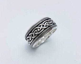 Celtic V.3,Silver Celtic Ring,925 Sterling Silver,Black