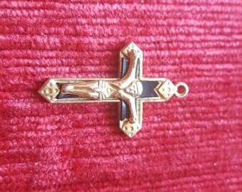 Vintage silver coloured crucifix with black enamel (?) Detail