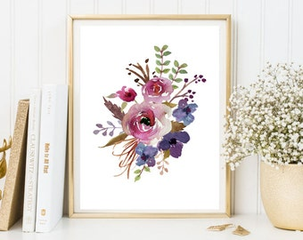 Watercolor print flowers floral purple watercolor wall art print printable floral print watercolor poster home room kitchen decor