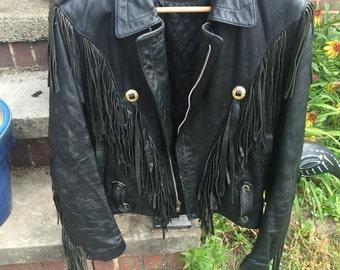 Vintage Verducci Black Leather Moto Jacket with Fringe