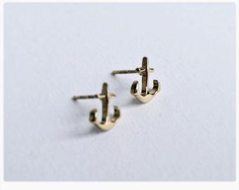 Anchor Earrings GOLD, Ear Studs, Anchor, Love, Anchor Earring Gold