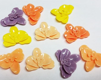 Lot of 10 Mixed Resin Flower Flatback Cabochons 20mm