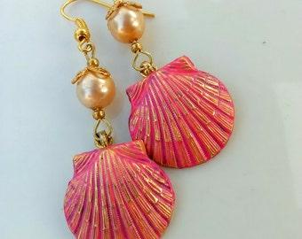 Pink Corral Shell Earrings